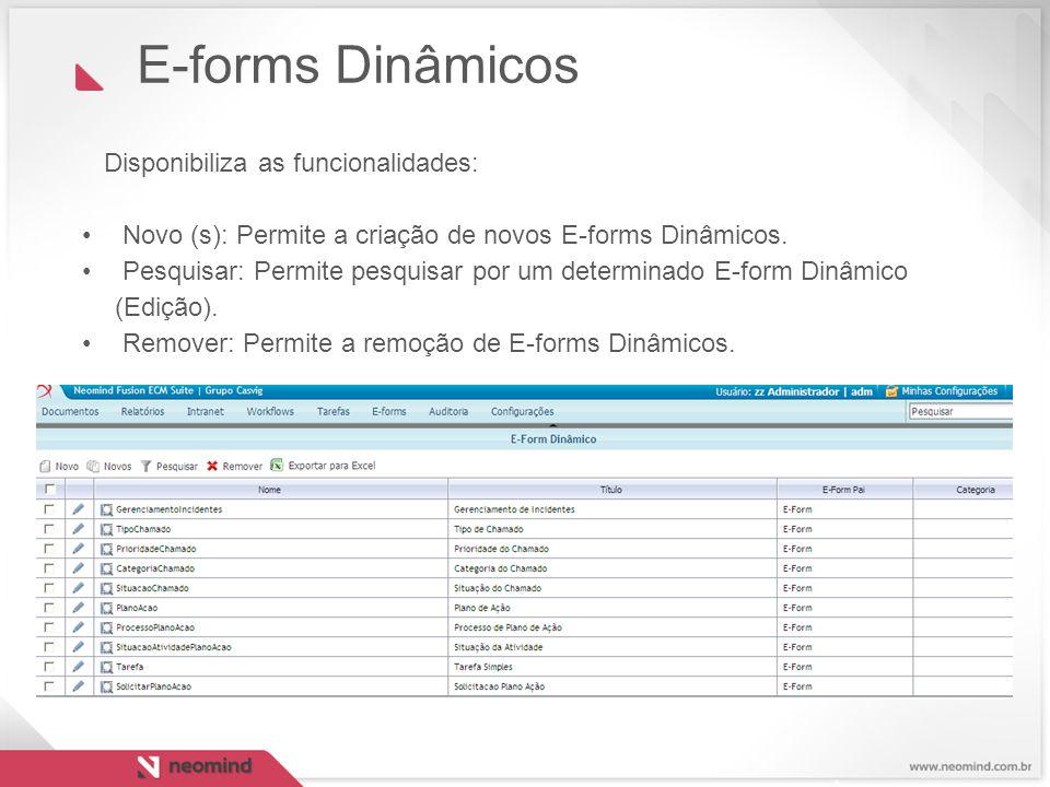Disponibiliza as funcionalidades: Novo (s): Permite a criação de novos E-forms Dinâmicos. Pesquisar: Permite pesquisar por um determinado E-form Dinâm