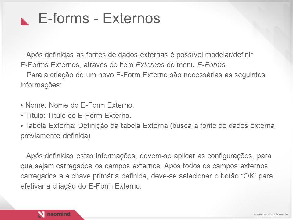 Após definidas as fontes de dados externas é possível modelar/definir E-Forms Externos, através do item Externos do menu E-Forms. Para a criação de um