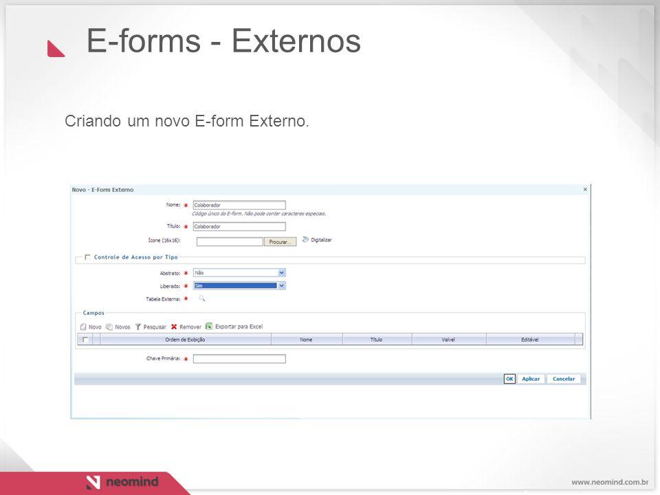 Criando um novo E-form Externo.