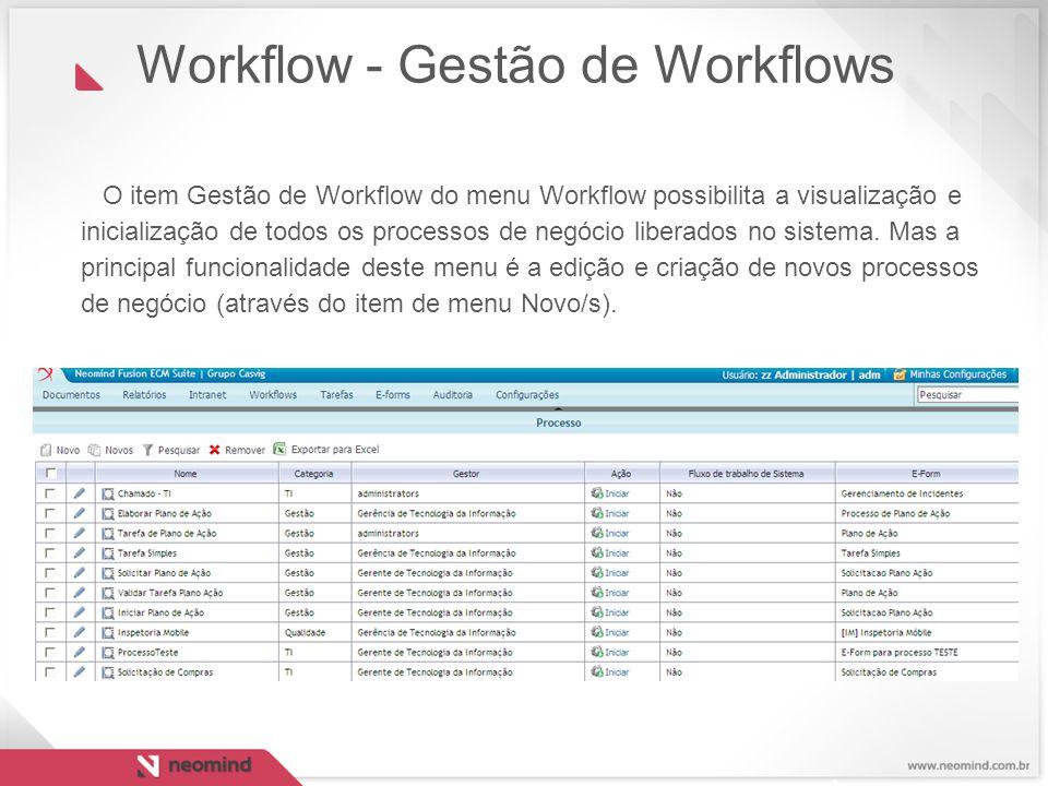 O item Gestão de Workflow do menu Workflow possibilita a visualização e inicialização de todos os processos de negócio liberados no sistema. Mas a pri