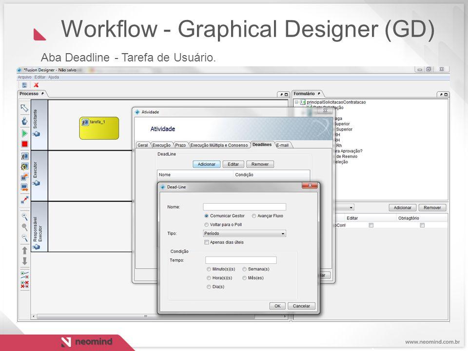 Workflow - Graphical Designer (GD) Aba Deadline - Tarefa de Usuário.