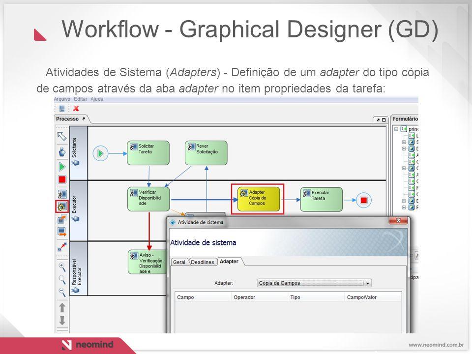 Atividades de Sistema (Adapters) - Definição de um adapter do tipo cópia de campos através da aba adapter no item propriedades da tarefa: Workflow - G