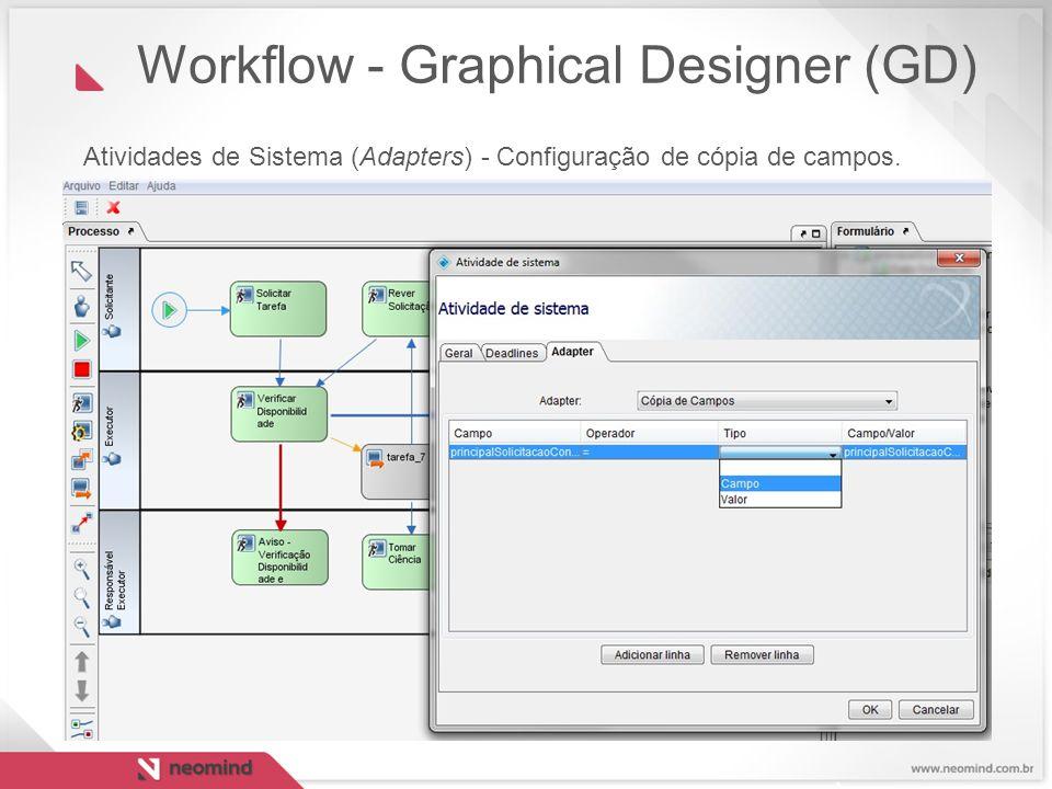 Atividades de Sistema (Adapters) - Configuração de cópia de campos. Workflow - Graphical Designer (GD)