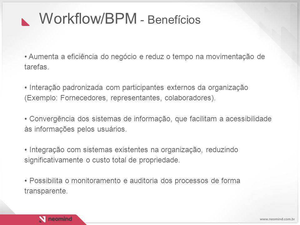 Aumenta a eficiência do negócio e reduz o tempo na movimentação de tarefas. Interação padronizada com participantes externos da organização (Exemplo: