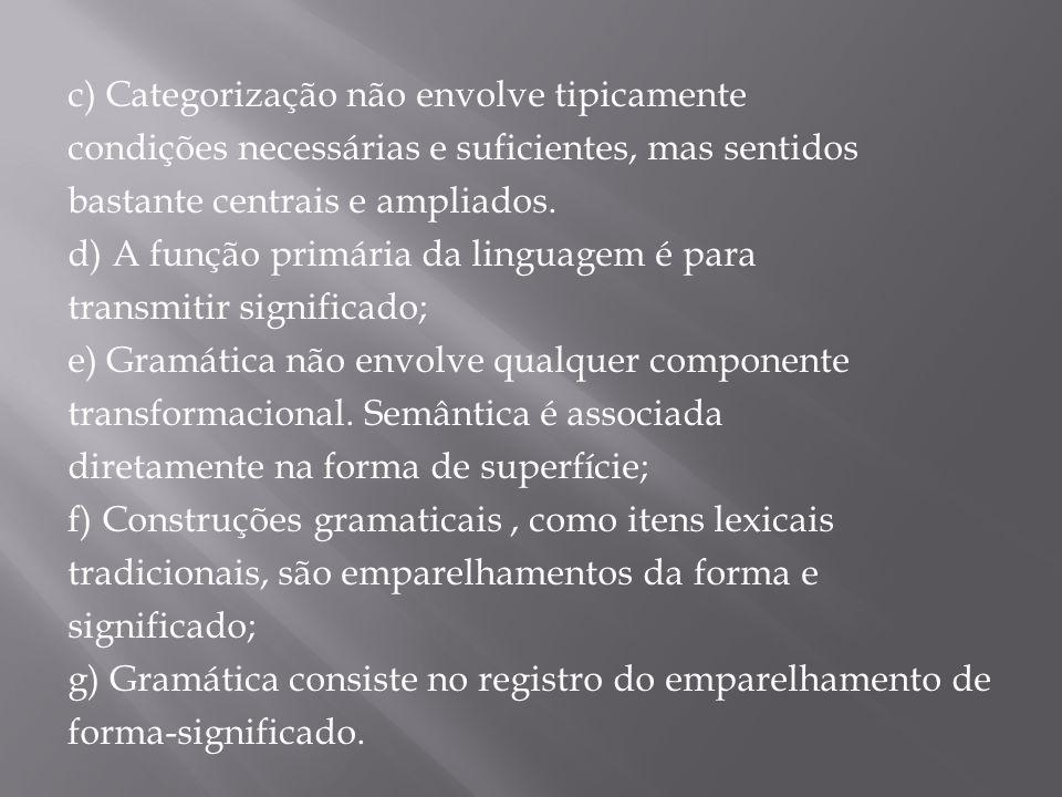 c) Categorização não envolve tipicamente condições necessárias e suficientes, mas sentidos bastante centrais e ampliados. d) A função primária da ling