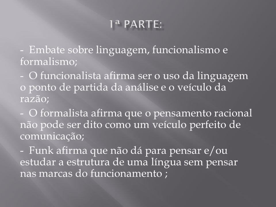 - Embate sobre linguagem, funcionalismo e formalismo; - O funcionalista afirma ser o uso da linguagem o ponto de partida da análise e o veículo da raz