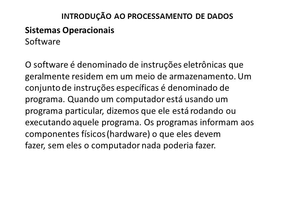 Sistemas Operacionais Software O software é denominado de instruções eletrônicas que geralmente residem em um meio de armazenamento.
