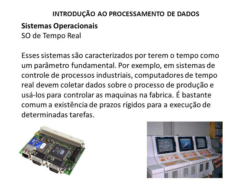 Sistemas Operacionais SO de Tempo Real Esses sistemas são caracterizados por terem o tempo como um parâmetro fundamental.