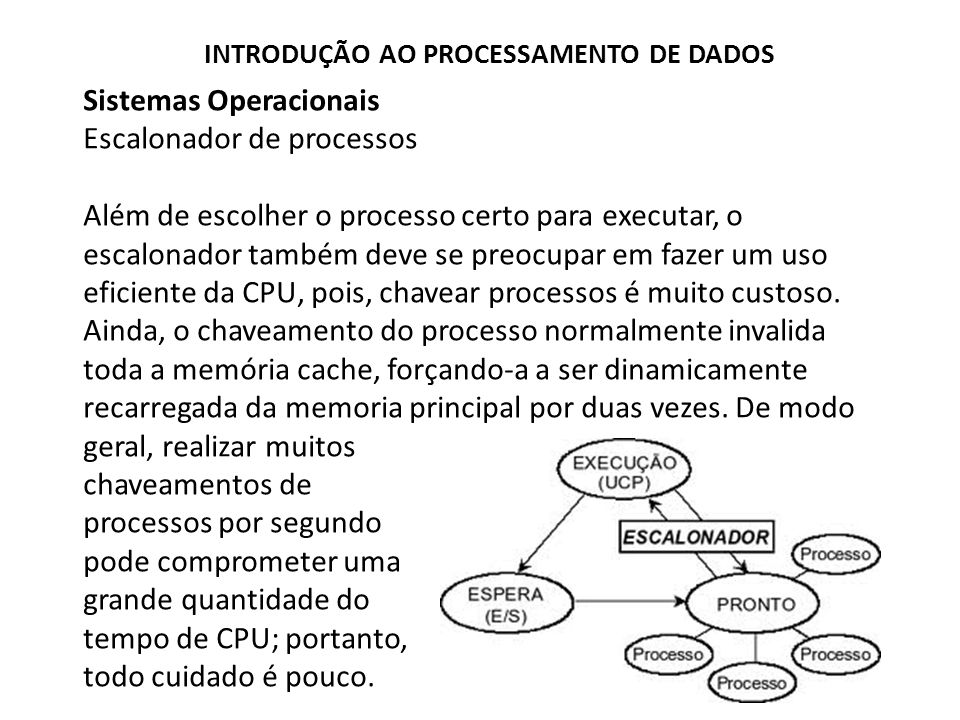 Sistemas Operacionais Escalonador de processos Além de escolher o processo certo para executar, o escalonador também deve se preocupar em fazer um uso eficiente da CPU, pois, chavear processos é muito custoso.