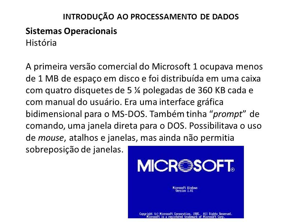 Sistemas Operacionais História A primeira versão comercial do Microsoft 1 ocupava menos de 1 MB de espaço em disco e foi distribuída em uma caixa com quatro disquetes de 5 ¼ polegadas de 360 KB cada e com manual do usuário.