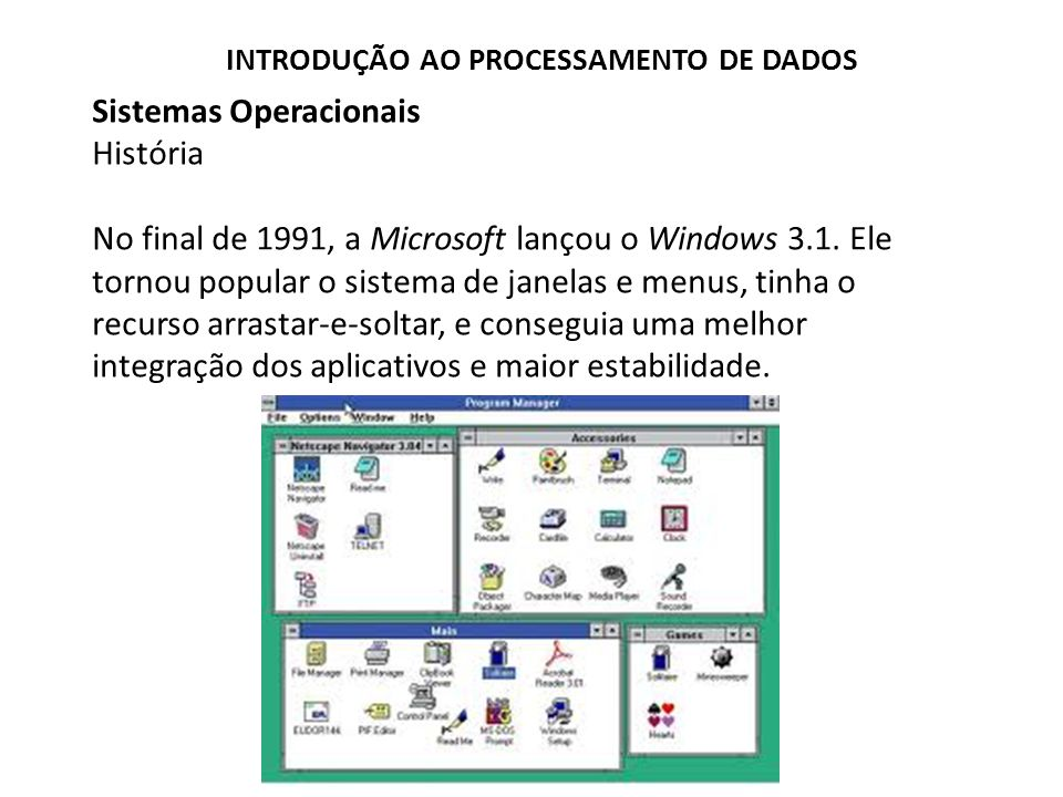 Sistemas Operacionais História No final de 1991, a Microsoft lançou o Windows 3.1.