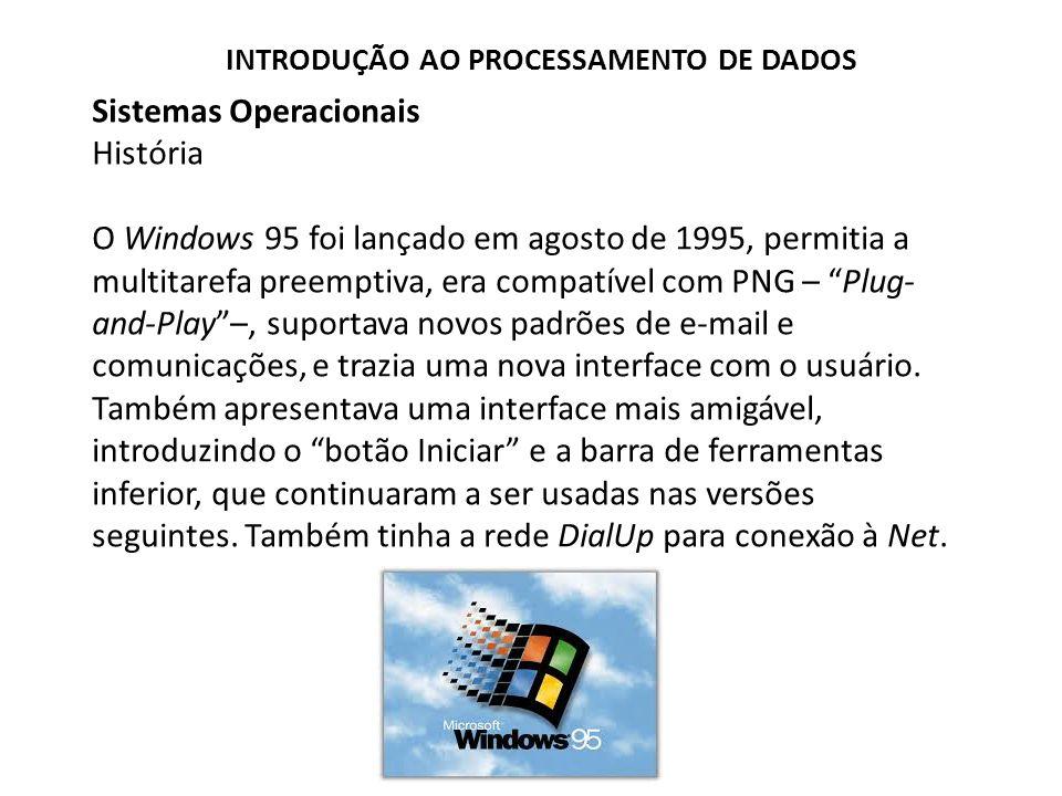 Sistemas Operacionais História O Windows 95 foi lançado em agosto de 1995, permitia a multitarefa preemptiva, era compatível com PNG – Plug- and-Play –, suportava novos padrões de e-mail e comunicações, e trazia uma nova interface com o usuário.