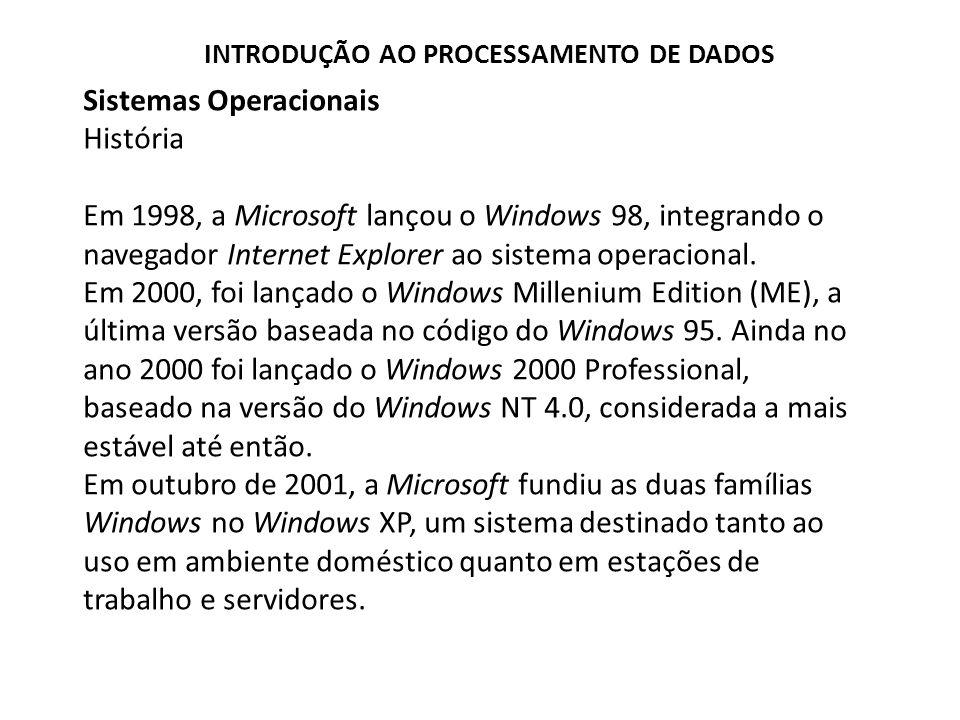 Sistemas Operacionais História Em 1998, a Microsoft lançou o Windows 98, integrando o navegador Internet Explorer ao sistema operacional.