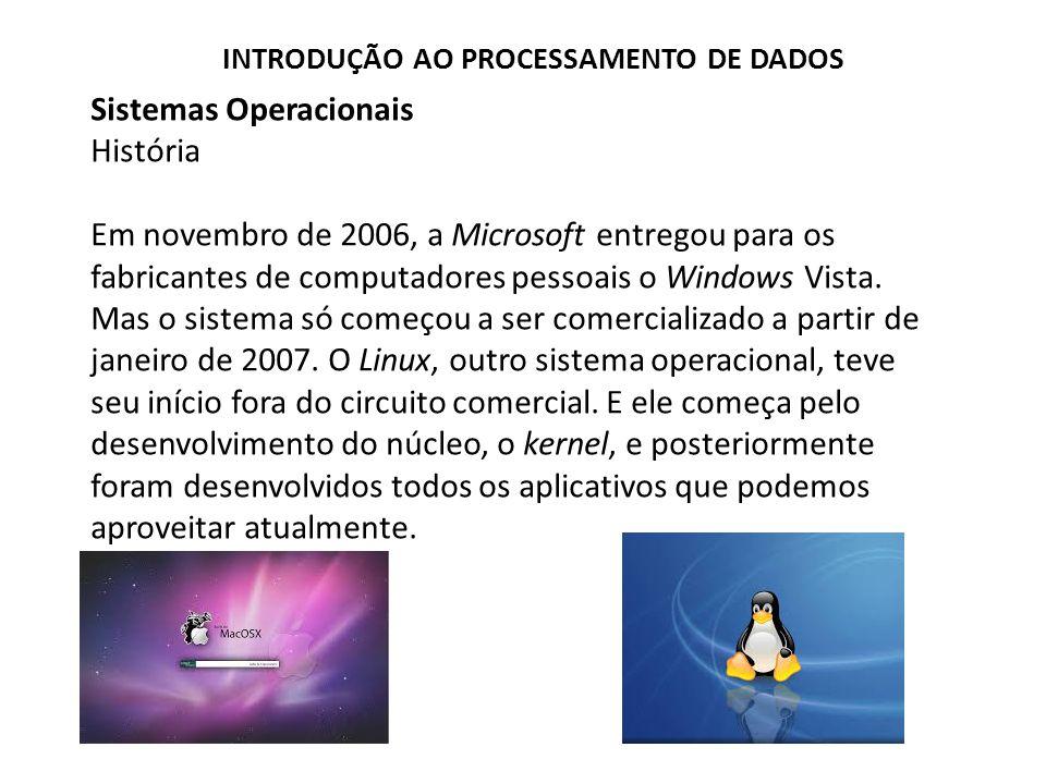 Sistemas Operacionais História Em novembro de 2006, a Microsoft entregou para os fabricantes de computadores pessoais o Windows Vista.