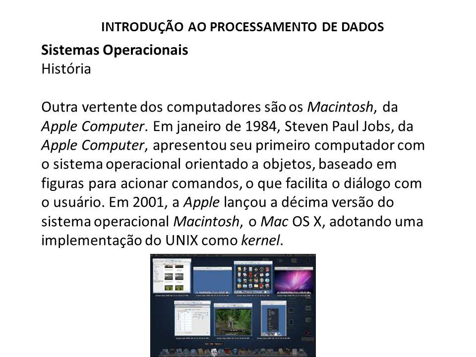 Sistemas Operacionais História Outra vertente dos computadores são os Macintosh, da Apple Computer.