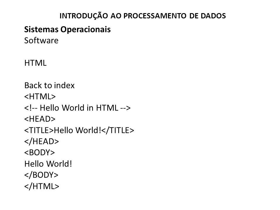 Sistemas Operacionais Software HTML Back to index Hello World.