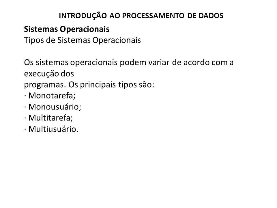 Sistemas Operacionais Tipos de Sistemas Operacionais Os sistemas operacionais podem variar de acordo com a execução dos programas.
