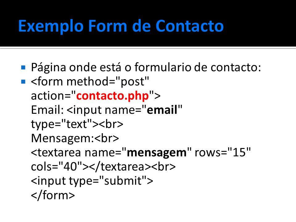  Página onde está o formulario de contacto:  Email: Mensagem: