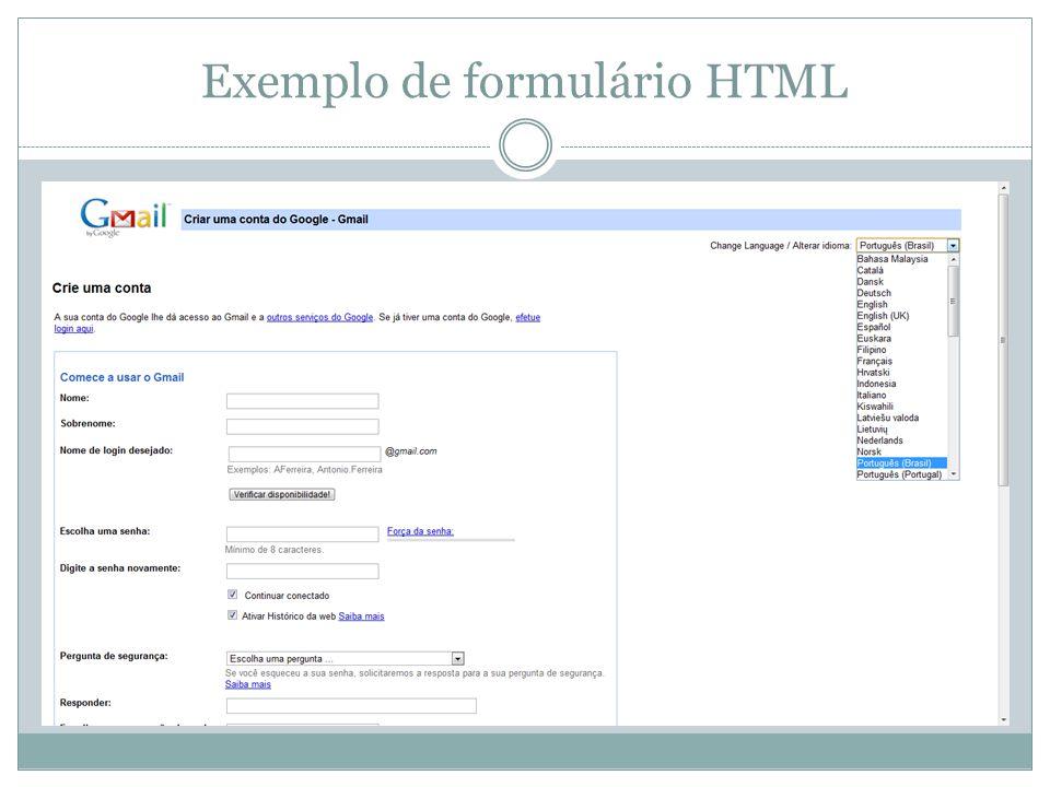 Exemplo de formulário HTML