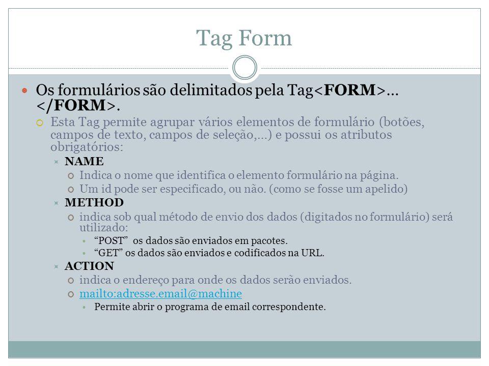 Tag Form Os formulários são delimitados pela Tag ….