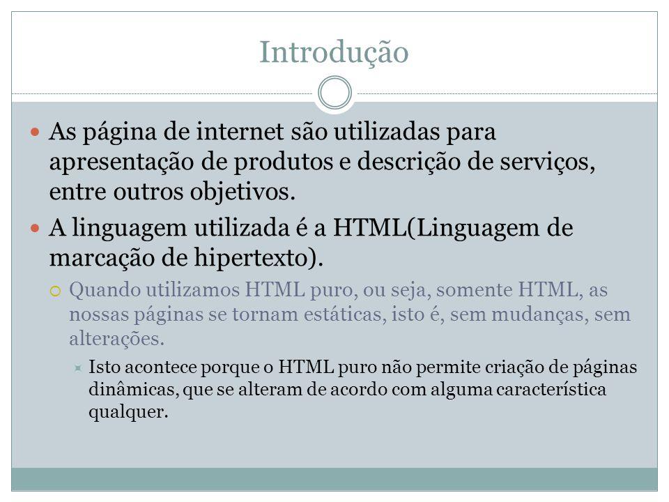 Introdução As página de internet são utilizadas para apresentação de produtos e descrição de serviços, entre outros objetivos. A linguagem utilizada é
