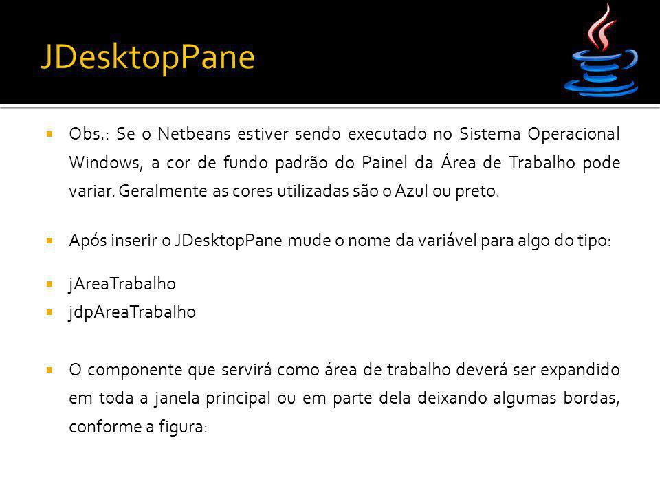  Obs.: Se o Netbeans estiver sendo executado no Sistema Operacional Windows, a cor de fundo padrão do Painel da Área de Trabalho pode variar. Geralme