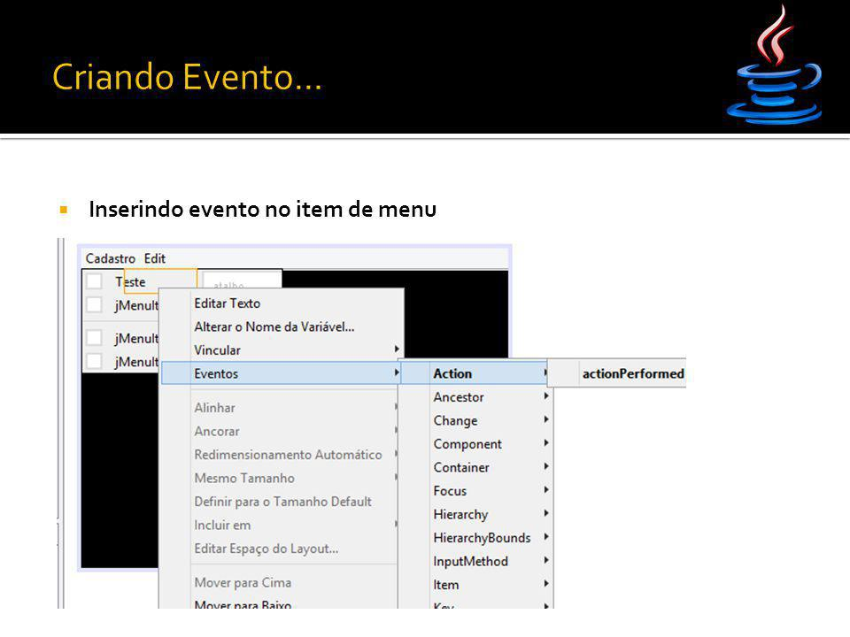  Inserindo evento no item de menu