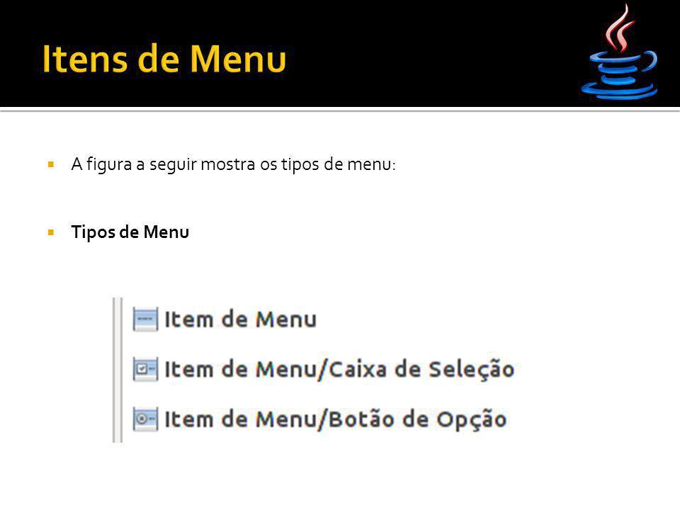  A figura a seguir mostra os tipos de menu:  Tipos de Menu
