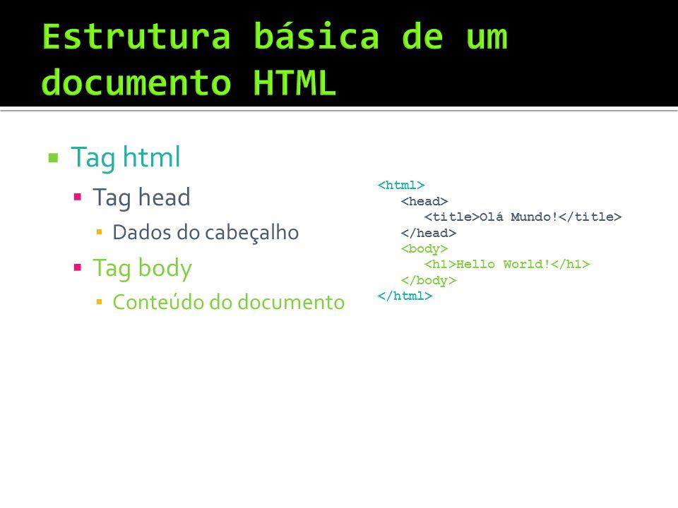  Tag html  Tag head ▪ Dados do cabeçalho  Tag body ▪ Conteúdo do documento Olá Mundo.