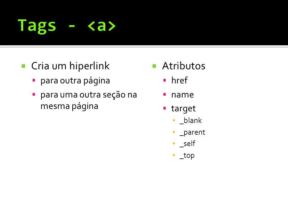  Cria um hiperlink  para outra página  para uma outra seção na mesma página  Atributos  href  name  target ▪ _blank ▪ _parent ▪ _self ▪ _top