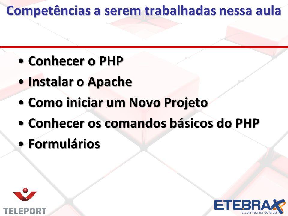 Competências a serem trabalhadas nessa aula Conhecer o PHPConhecer o PHP Instalar o ApacheInstalar o Apache Como iniciar um Novo ProjetoComo iniciar um Novo Projeto Conhecer os comandos básicos do PHPConhecer os comandos básicos do PHP FormuláriosFormulários
