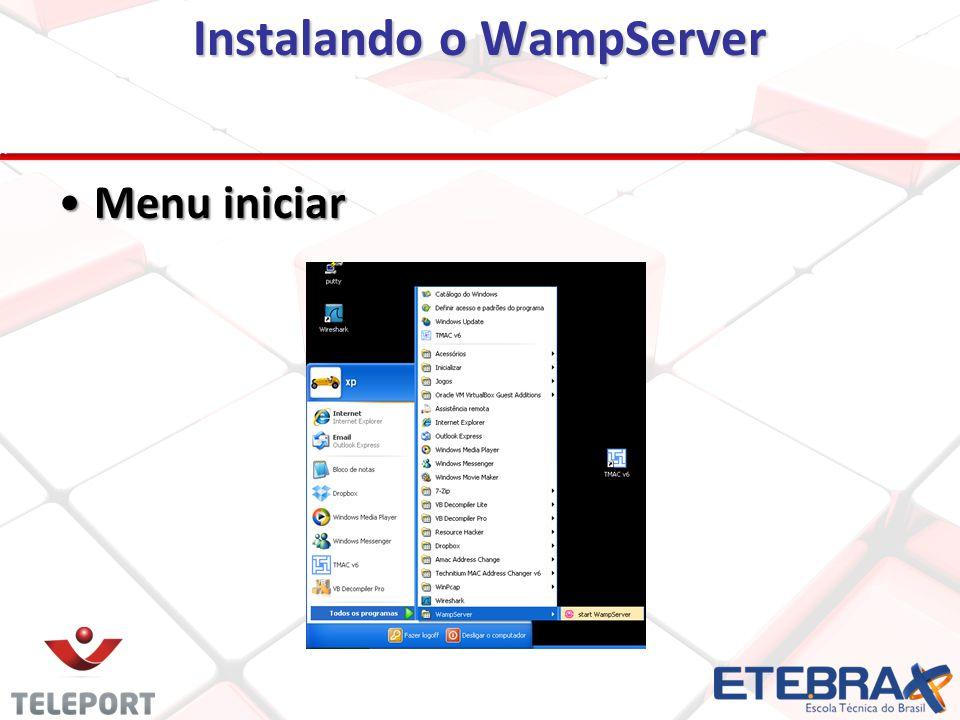 Instalando o WampServer Menu iniciarMenu iniciar