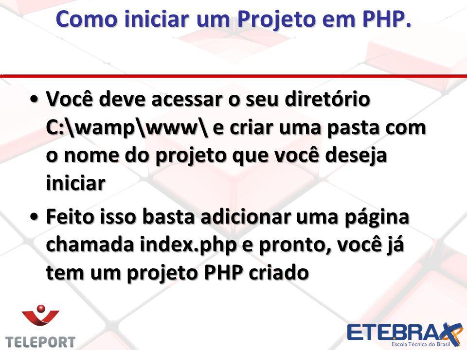 Como iniciar um Projeto em PHP.