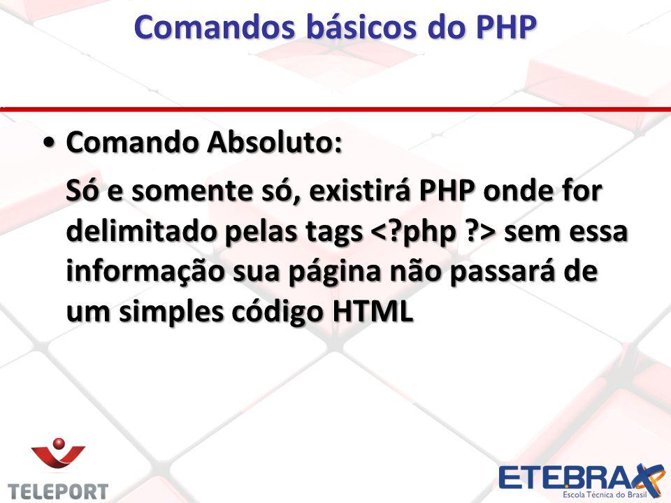 Comandos básicos do PHP Comando Absoluto:Comando Absoluto: Só e somente só, existirá PHP onde for delimitado pelas tags sem essa informação sua página não passará de um simples código HTML