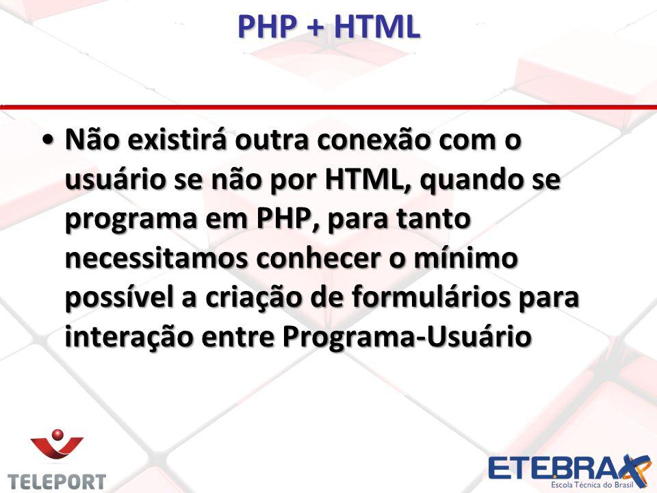 PHP + HTML Não existirá outra conexão com o usuário se não por HTML, quando se programa em PHP, para tanto necessitamos conhecer o mínimo possível a criação de formulários para interação entre Programa-UsuárioNão existirá outra conexão com o usuário se não por HTML, quando se programa em PHP, para tanto necessitamos conhecer o mínimo possível a criação de formulários para interação entre Programa-Usuário