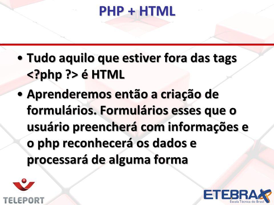 PHP + HTML Tudo aquilo que estiver fora das tags é HTMLTudo aquilo que estiver fora das tags é HTML Aprenderemos então a criação de formulários.