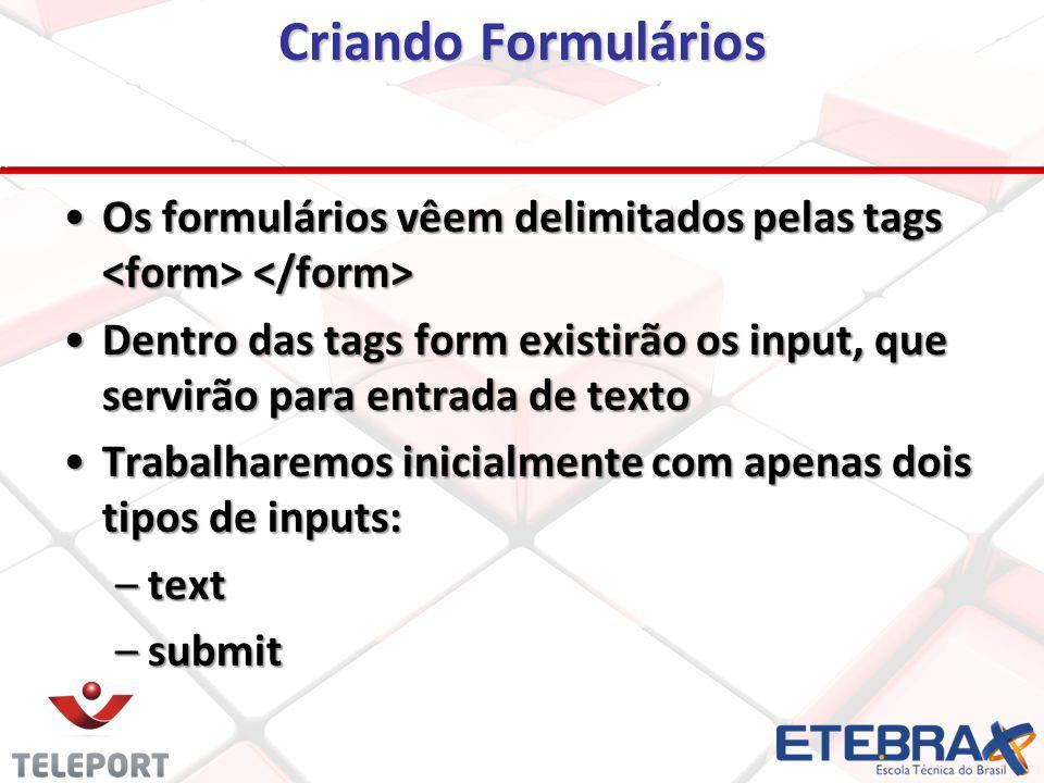 Criando Formulários Os formulários vêem delimitados pelas tags Os formulários vêem delimitados pelas tags Dentro das tags form existirão os input, que servirão para entrada de textoDentro das tags form existirão os input, que servirão para entrada de texto Trabalharemos inicialmente com apenas dois tipos de inputs:Trabalharemos inicialmente com apenas dois tipos de inputs: –text –submit
