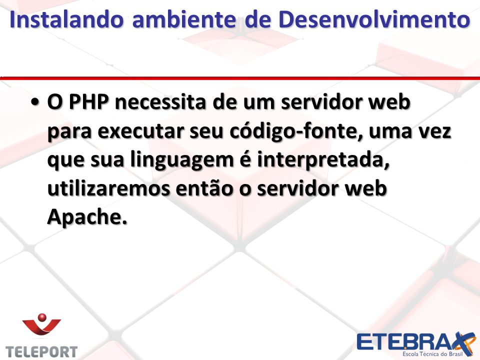 Instalando ambiente de Desenvolvimento Para instalar o servidor web utilizaremos a ferramenta chamada WampServer, pois essa ferramenta é usada para instalar rapidamente no computador os softwares PHP, MySQL e Apache.Para instalar o servidor web utilizaremos a ferramenta chamada WampServer, pois essa ferramenta é usada para instalar rapidamente no computador os softwares PHP, MySQL e Apache.
