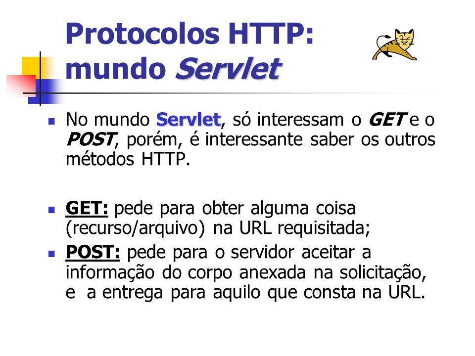 Servlet Protocolos HTTP: mundo Servlet Servlet No mundo Servlet, só interessam o GET e o POST, porém, é interessante saber os outros métodos HTTP.