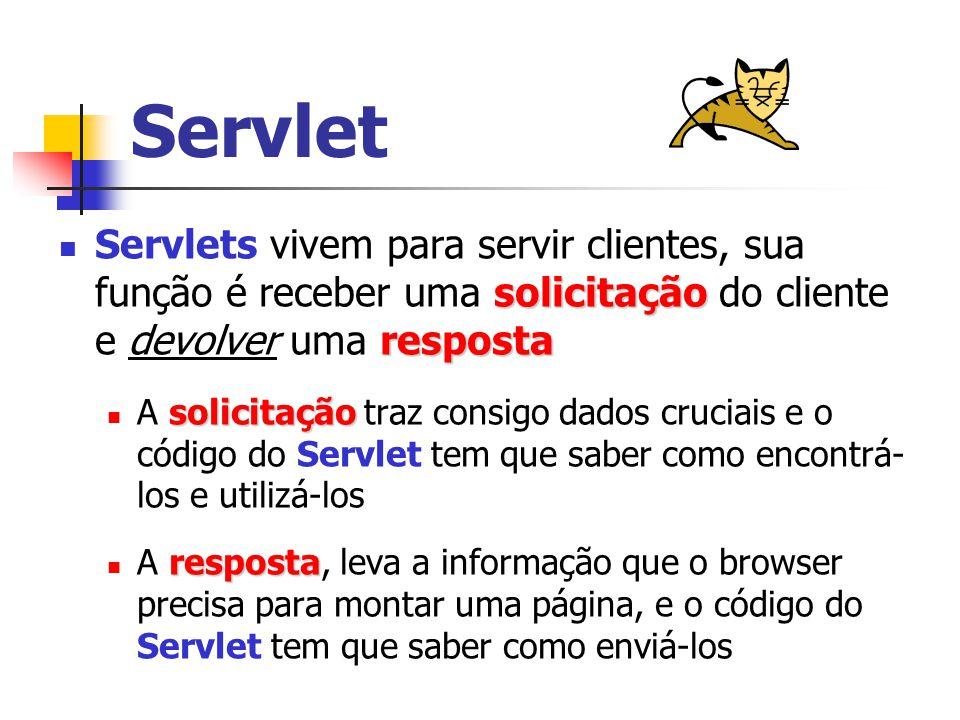 Servlet solicitação resposta Servlets vivem para servir clientes, sua função é receber uma solicitação do cliente e devolver uma resposta solicitação A solicitação traz consigo dados cruciais e o código do Servlet tem que saber como encontrá- los e utilizá-los resposta A resposta, leva a informação que o browser precisa para montar uma página, e o código do Servlet tem que saber como enviá-los