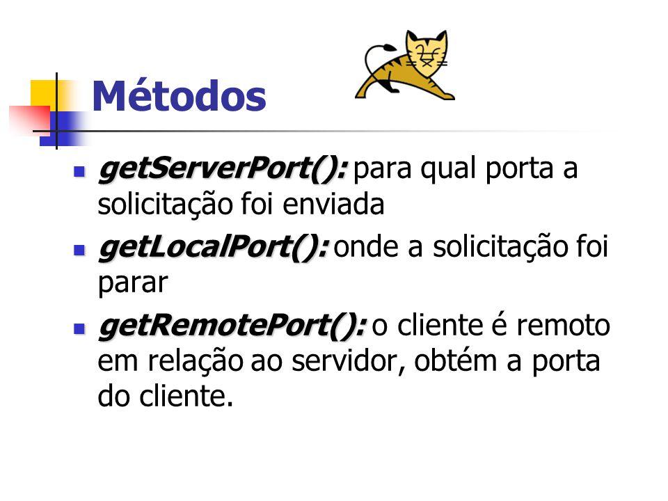 Métodos getServerPort(): getServerPort(): para qual porta a solicitação foi enviada getLocalPort(): getLocalPort(): onde a solicitação foi parar getRemotePort(): getRemotePort(): o cliente é remoto em relação ao servidor, obtém a porta do cliente.