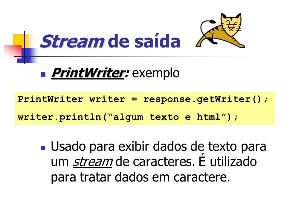 Stream Stream de saída PrintWriter PrintWriter: exemplo Usado para exibir dados de texto para um stream de caracteres.