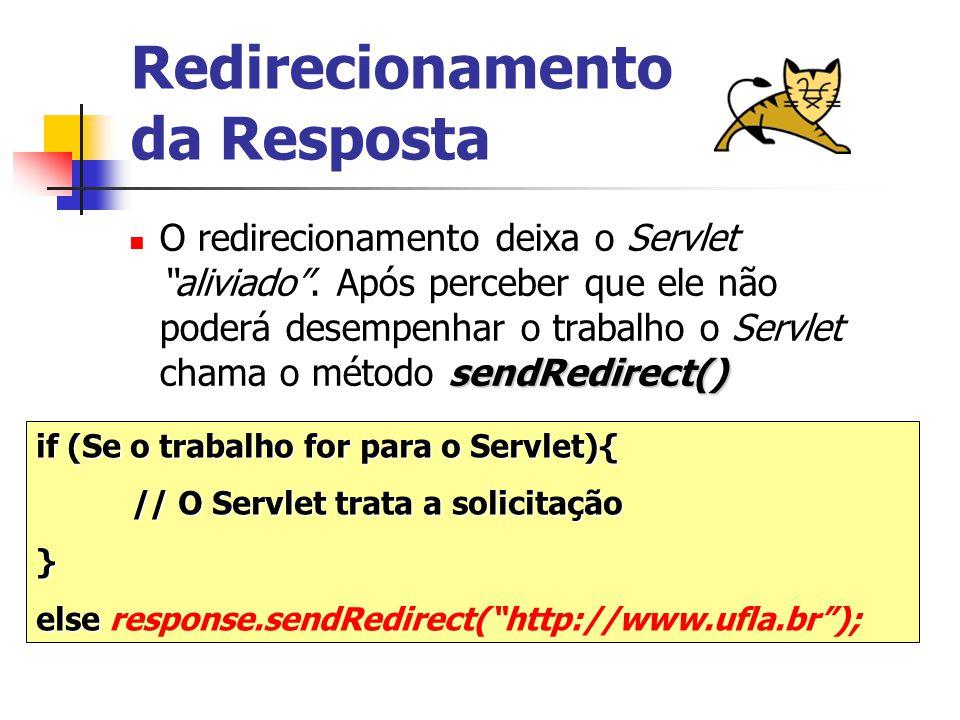 Redirecionamento da Resposta sendRedirect() O redirecionamento deixa o Servlet aliviado .