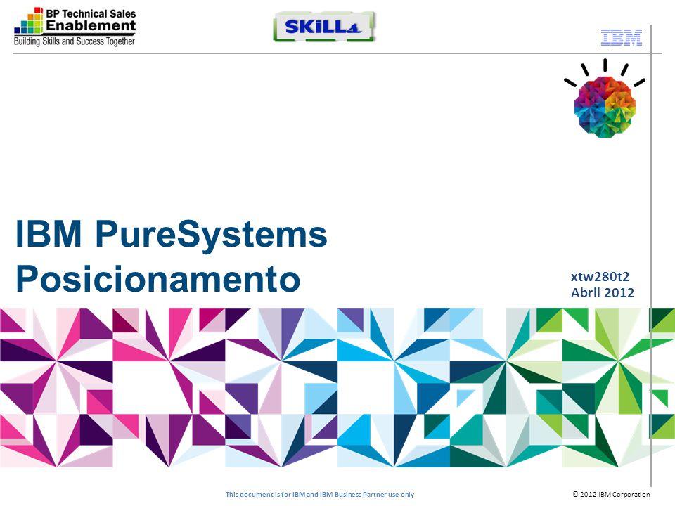 © 2012 IBM Corporation This document is for IBM and IBM Business Partner use only Smarter Computing Pronto para Tecnologias de Cloud Projetado para Dados A infraestrutura de TI que habilita o Smarter Planet Tunned para tarefas