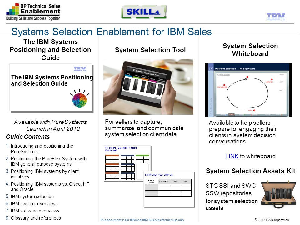© 2012 IBM Corporation This document is for IBM and IBM Business Partner use only The IBM Systems Positioning and Selection Guide System Selection Tool System Selection Whiteboard Available with PureSystems Launch in April 2012 Guide Contents 1.