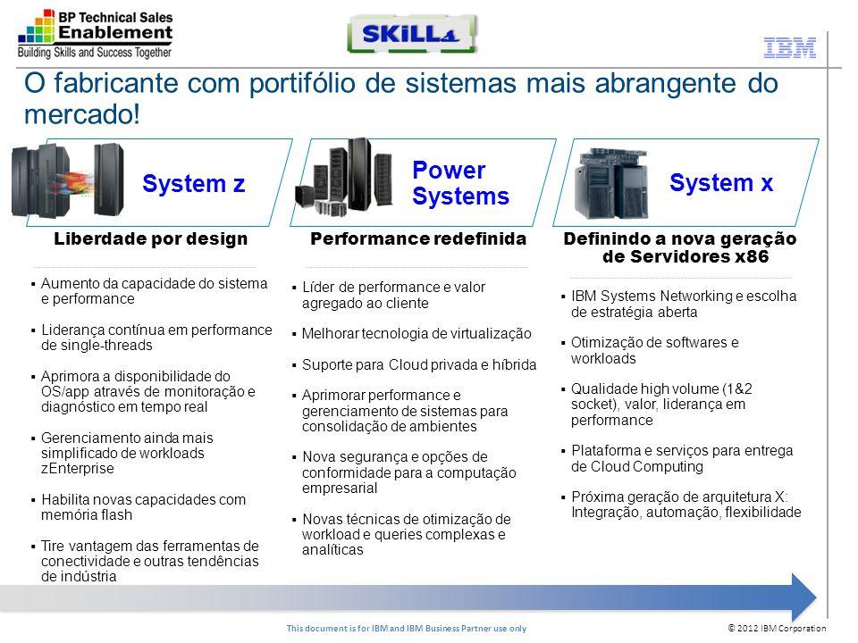 © 2012 IBM Corporation This document is for IBM and IBM Business Partner use only Skill 2 - IBM PureFlex Systems - IBM Flex System Enterprise Chassis Overview (Técnico) Dia: 23/08/2012 Horário: das 10:00h às 11:30h Link de inscrição: https://www-950.ibm.com/events/wwe/ap/apeptreg.nsf/enrollall?openform&seminar=kworfbm8wqpta&lang=pt-BR Skill 2 - IBM PureFlex Systems - IBM Flex System Nodes Overview (Técnico) Dia: 30/08/2012 Horário: das 10:00h às 11:30h Link de inscrição: https://www-950.ibm.com/events/wwe/ap/apeptreg.nsf/enrollall?openform&seminar=kworfbm8wqpuh&lang=pt-BR https://www-950.ibm.com/events/wwe/ap/apeptreg.nsf/enrollall?openform&seminar=kworfbm8wqpuh&lang=pt-BR Skill 2 - IBM PureFlex Systems - IBM Flex System I/O Overview (Técnico) Dia: 06/09/2012 Horário: das 10:00h às 11:30h Link de inscrição: https://www-950.ibm.com/events/wwe/ap/apeptreg.nsf/enrollall?openform&seminar=kworfbm8wqpvh&lang=pt-BR PureSystems - Webcasts Brasil 2H-2012 Foco na certificação técnica Acompanhe o comunicado de canais para mais datas!