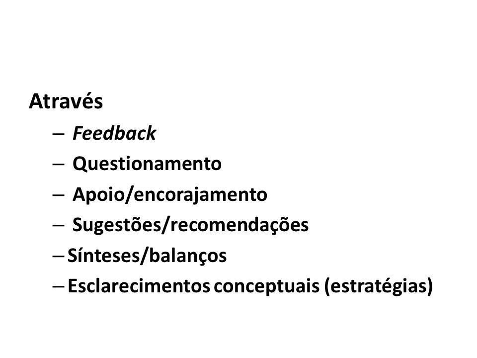 Através – Feedback – Questionamento – Apoio/encorajamento – Sugestões/recomendações – Sínteses/balanços – Esclarecimentos conceptuais (estratégias)