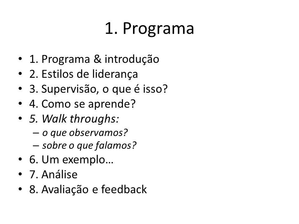1. Programa 1. Programa & introdução 2. Estilos de liderança 3. Supervisão, o que é isso? 4. Como se aprende? 5. Walk throughs: – o que observamos? –