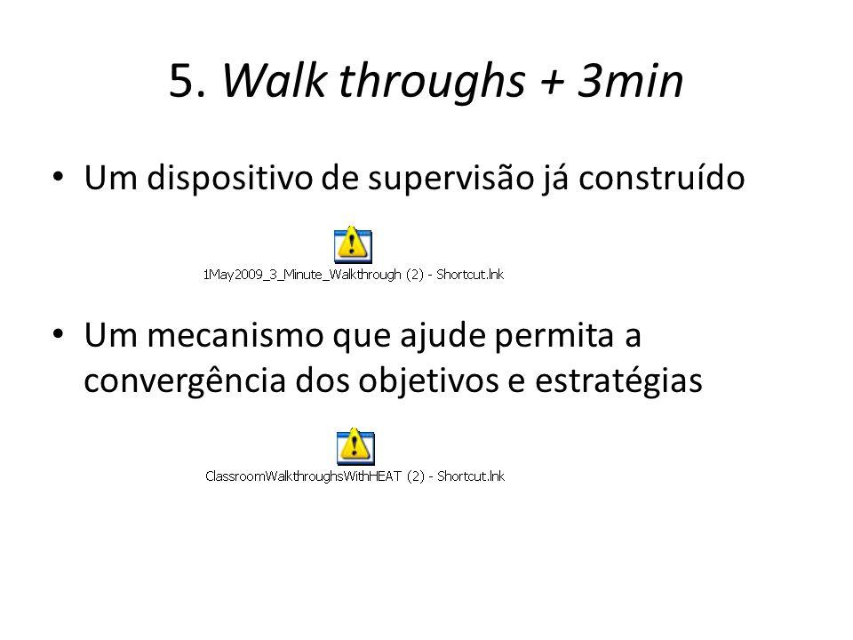 5. Walk throughs + 3min Um dispositivo de supervisão já construído Um mecanismo que ajude permita a convergência dos objetivos e estratégias