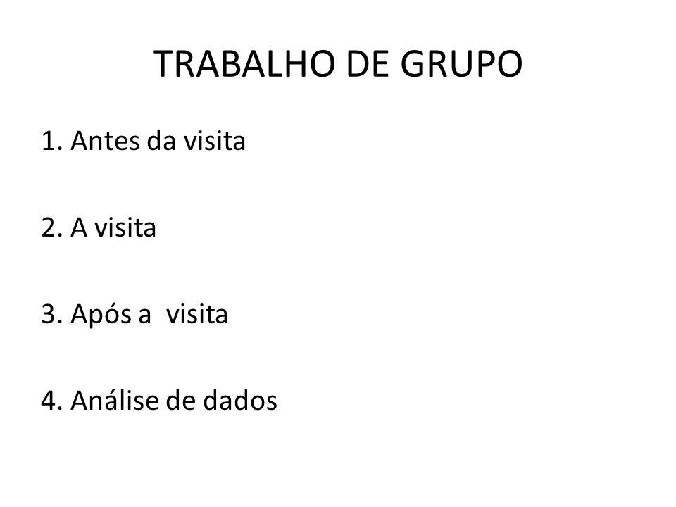 TRABALHO DE GRUPO 1. Antes da visita 2. A visita 3. Após a visita 4. Análise de dados
